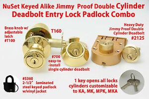Nuset Keyed Alike Jimmy Proof Double Cylinder Deadbolt