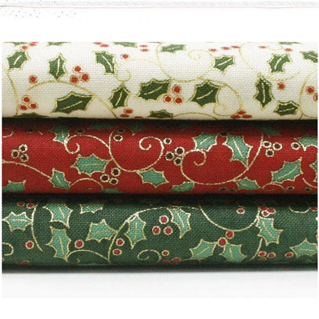 """Fat Quarter 18""""*22"""" 3 Piece Assorted Pre-cut Christmas 100% Cotton Fabric"""