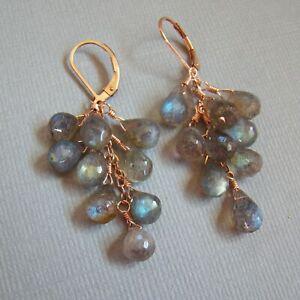 Blue-Gray-Labradorite-Cluster-14k-Rose-Gold-Filled-U-amp-C-Sundance-Earrings
