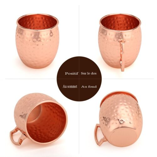 2 Hammered Moscow Mule Mug Drinking Cup 100/% Pure Solid Copper Brass Set 16 Oz