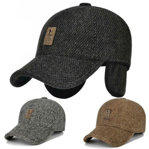 Men Winter Warm Thickened Baseball Snapback Cap Hat with Ear Protection Cotton