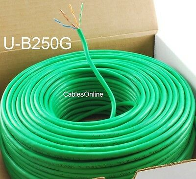 Green 250ft Cat5e 350MHz UTP 24AWG solid pure copper Riser Rated CMR Cable