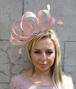 f2affa9ad8e Blush Nude Pink Silver Sinamay Feather Hair Fascinator Races Wedding ...