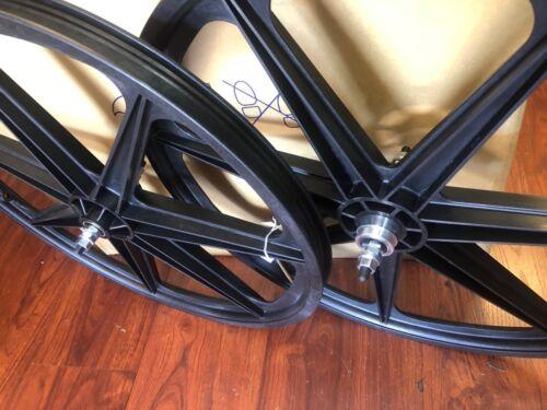 "environ 60.96 cm TUFF MAG Roue Set Noir Vélo BMX Tufs MAGS Wheels Retro 24/"" SKYWAY 24 in"