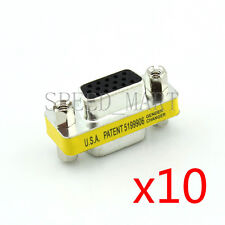 10 X 15 Pins HD VGA KVM SVGA DB15 Female to Female Serial Cable Coupler Adapter