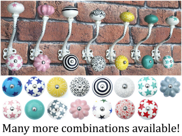 White painted shabby chic vintage coat hooks pegs with choice of ceramic knobs