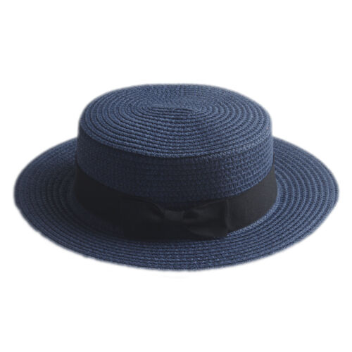 Unisex Kid Children Girls Boys Straw Boater Cap Sailor Hat Fedora Trilby Sunhat