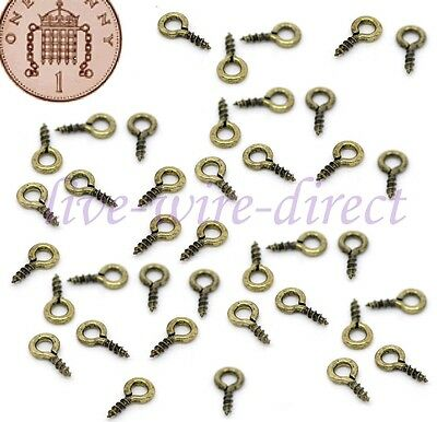 100 Small Tiny Mini Eye Pins Eyepins Hooks Eyelets Screw Threaded Silver 8mm UK