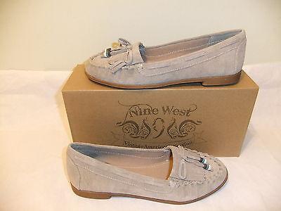 NINE WEST Gumper Beige Suede Leather Loafer Moccasin Comfort Size 8 NIB $80