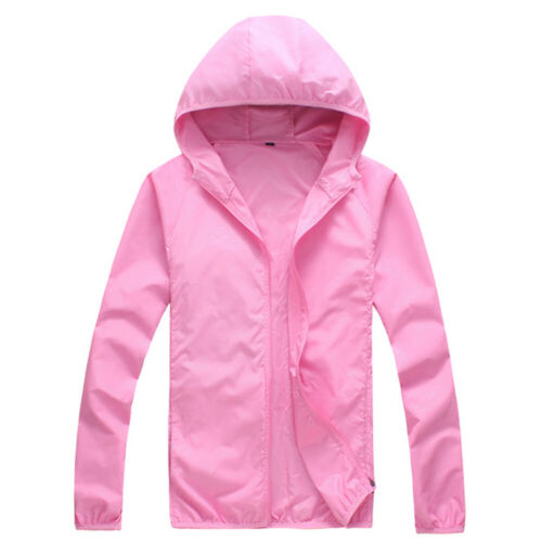 Women Men Outbreaker Windproof Jacket Quick Dry Hooded Camping Sports Rain Coat