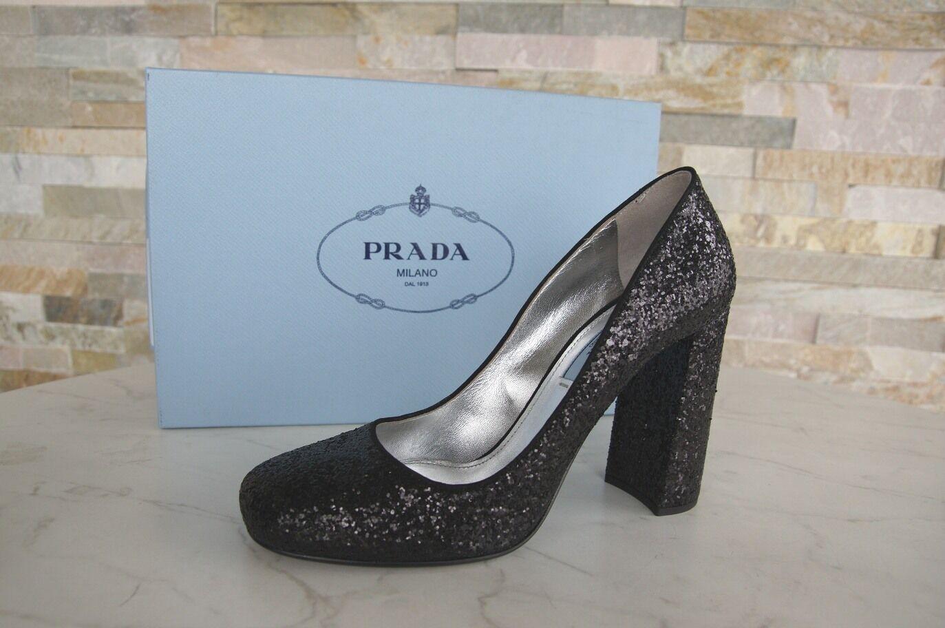 PRADA TAGLIA 38,5 Brillantini PUMPS Tacchi Brillantini 38,5 Sera Scarpe scarpe shoes nero NUOVO UVP 8a5f4b