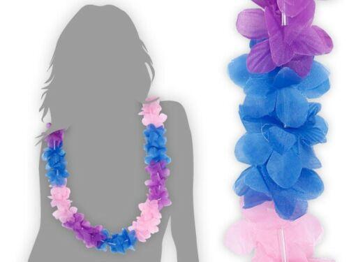 Hawaii Chaîne Bleu Rose Violet Fleurs-chaînes HAWAÏ 23 Hula Tikki Beach-PARTY NEUF!