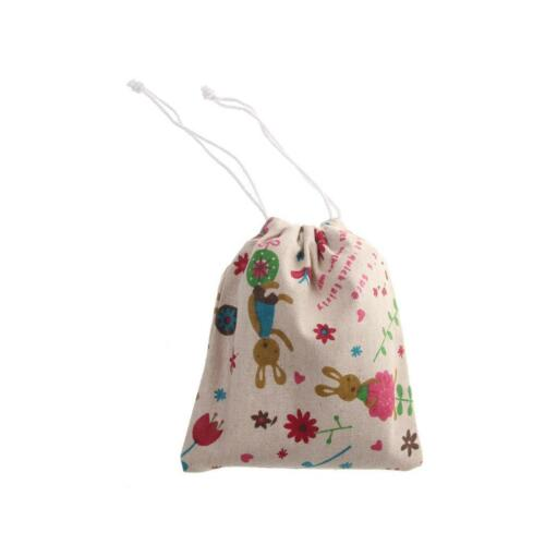 25x20cm Drawstring Jewelry Gift Bag Cotton Linen Tea Pouch Wedding Favor 6 Print