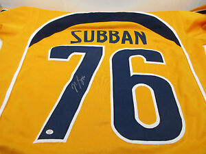 big sale f8df1 3d6e6 Details about P K Subban Signed Nashville Predators Jersey / Playing career  2009–present / COA