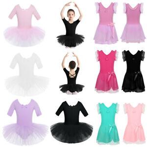 Girls-Kid-Ballet-Dance-Dress-Tutu-Skirts-Gymnastics-Leotards-Ballerina-Dancewear