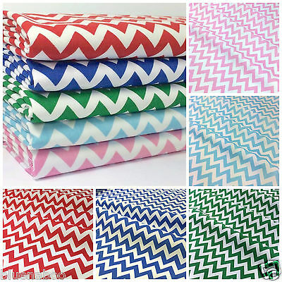 Clearance Sale Blue Zigzag Stripe Polycotton Fabric SOLD PER HALF METRE Material