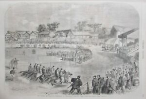 Japan-Yokohama-Horse-Racing-Natives-Engraving-L-Universe-Illustre-of-1866