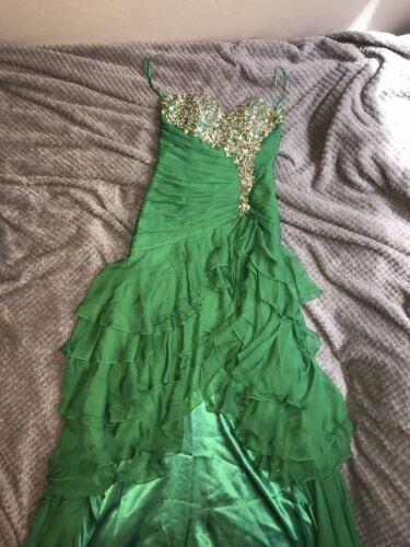 Green Strapless Prom Dress