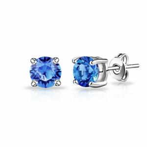 Stud Earrings Diamond Unique Sapphire 2ct Solitaire Solid 9ct White Gold Ebay
