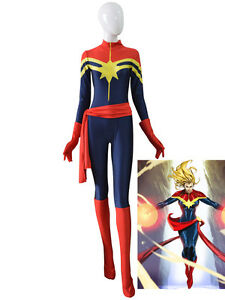 Image is loading Ms-Captain-Marvel-Superhero-Costume-New-Navy-Blue-  sc 1 st  eBay & Ms. Captain Marvel Superhero Costume New Navy Blue And Red Spandex ...