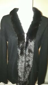 Jones New York Wool Blend Black Cardigan Women's - Faux Fur Collar size Large