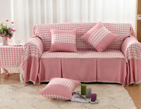 Pink Grid Lusbt Lace L-shaped Sofa Cover Protector For 1 2 3 4 Seater