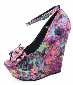 LADIES-PINK-SATIN-BOW-SLIP-ON-WEDGE-HIGH-HEEL-PLATFORM-COURT-PARTY-SHOES-UK-3-7