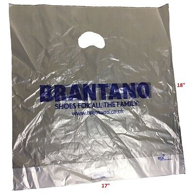 Black Plastic Shopping Carrier Bags 15 x 18 x 3 Inch Patch Handle 100 500 1000