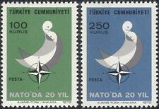 Turkey 1972 NATO 20th Anniversary/Doves/Birds/Military/Organizations 2v (n45459)