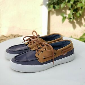 Brown Leather Boat Shoes Men Size