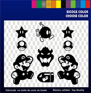 9-x-Sticker-Vinilo-Mario-Collection-Pegatinas-Vinyl-Aufkleber-Bartop-Arcade