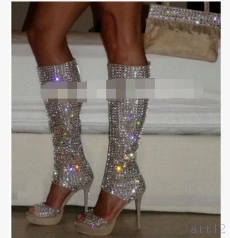 X Hot kvinnor kvinnor kvinnor skor Peep Toe Rhinestone Gladiator Knee höga stövlar Stiletto Sandal  100% fri frakt