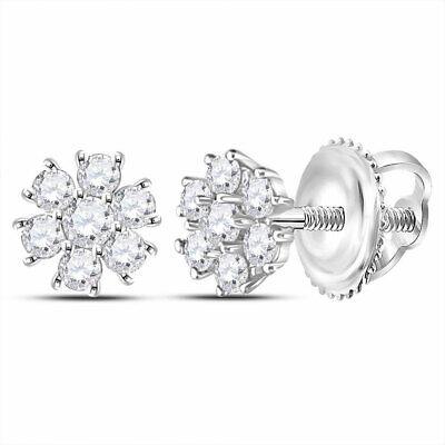 10k Or Jaune pour Femme Ronde Diamant Carré Grappe Boucles D/'oreille 1//20 cttw