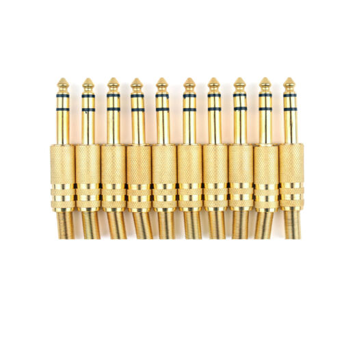 10 X Metall Gold 6.35mm Male 1//4 Stereo Stecker Plug Audio Steckverbinder GER