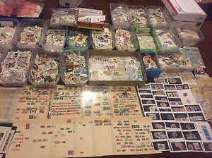 Worldwide-Off-Paper-Stamps-collection-Unsearched-lot-Mint-used-glassines-Bonus