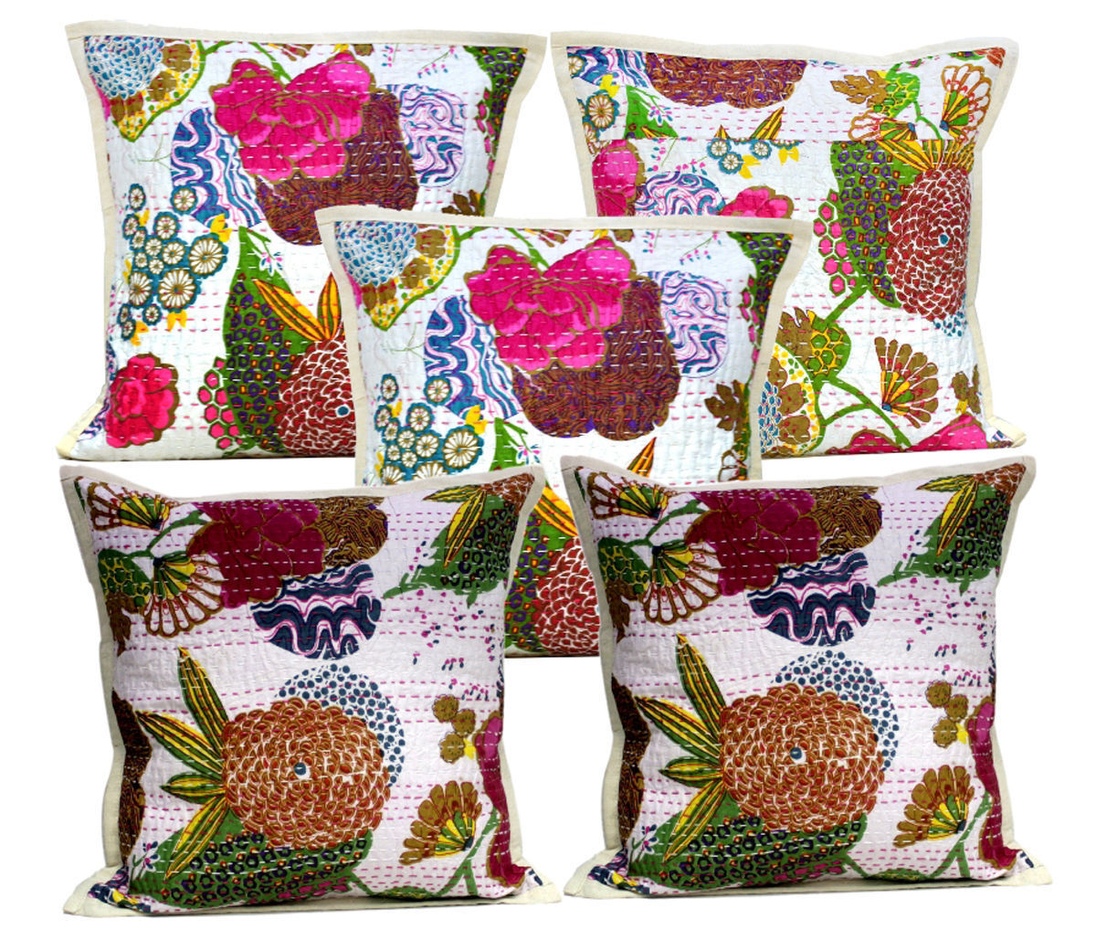 10Pcs Ethnic Home Decor Traditional Indian Kantha Floral Cushion Covers AIC801