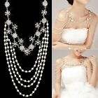New Wedding Bridal Crystal Rhinestone Pearl Shoulder Body Chain Necklace Jewelry