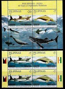 Philippine-India-2009-Marine-Mamal-Whale-Shark-Dolphin-Block-4-S-S-NH