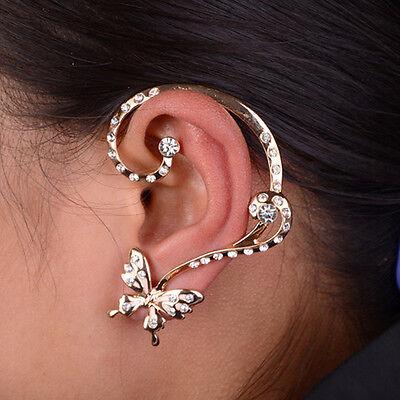 Fashion Women Ear Cuff Clip Stud Crystal Rhinestone Butterfly Earring Jewelry