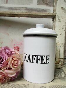 Details zu Kaffeedose Emaile Omas Zeiten Nostalgie Landhaus Shabby weiß Vorratsdose