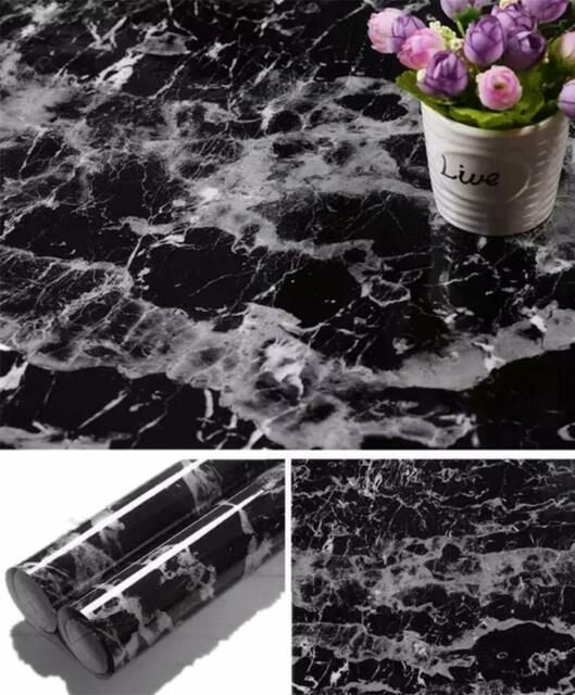 Yancorp Black Marble Contact Paper Granite Wallpaper Self 11 8 X