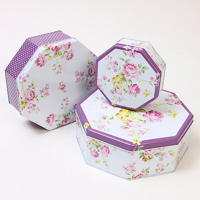 CHIC WHITE/PURPLE  FLORAL SET OF 3 NESTING STORAGE OCTAGONAL CAKE BISCUIT TINS