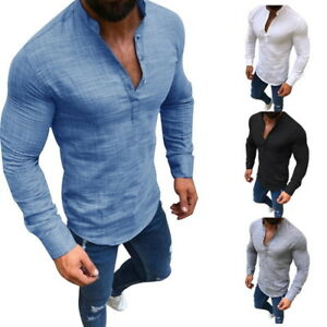 Mens T-shirt Long Sleeve Linen Shirts Casual Breathable Soft V Neck Blouse Tops