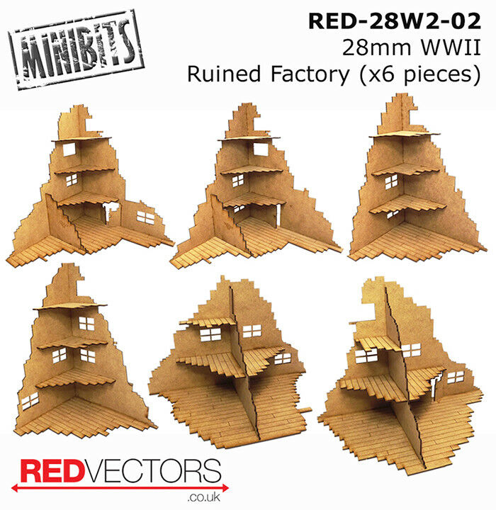 RED-28W2-02 - 28mm Wargames - Ruined Factory x 6 pieces (for WWII)