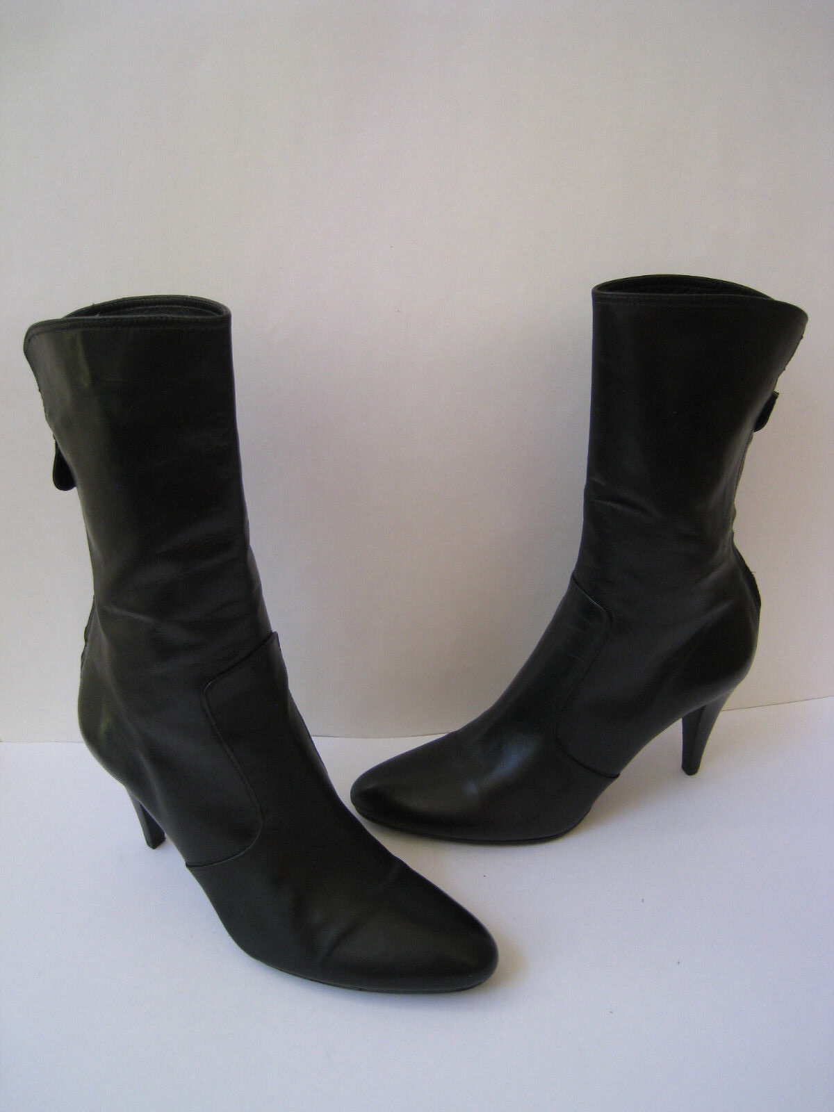 COLE HAAN BLACK LEATHER BOOTS 3  HEEL WOMEN SIZE US 9.5B RARE HOT MADE IN ITALY