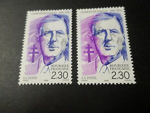 FRANCE 1990, VARIETE' DECALAGE/ESSUYAGE timbre 2634a, DE GAULLE, neuf**, MNH