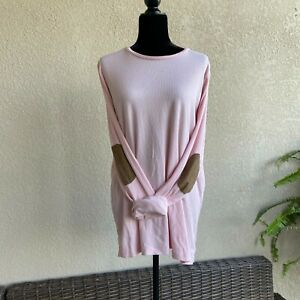 Womens-Lauren-Ralph-Ribbed-Knit-Pink-Top-Elbow-Patches-Long-Sleeves-NEW-NWT-2X