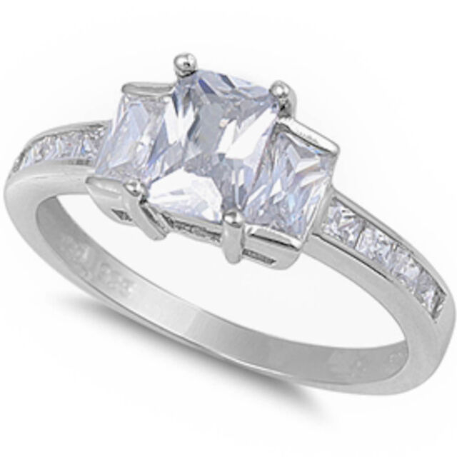 BEAUTIFUL Radiant Cut Russian CZ Engagement  .925 Sterling Silver Ring Size 5-10