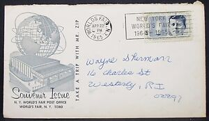 Ny-World-039-s-Fair-Souvenir-Issue-Cachet-US-Cover-Kennedy-Stamp-USA-Letter-Y-507