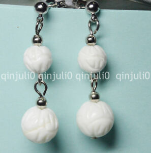 Charming 8-10mm White Carving Coral Gemstone Round Beads Drop Stud Earrings
